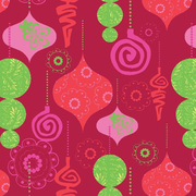 """Shamrock 24""""W Mod Ornaments Gift Wrap, Red/Lime Green/Pink"""