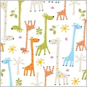 "Shamrock 24""W Baby Giraffes Gift Wrap, White/Orange/Green/Blue"
