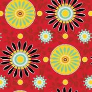 """Shamrock 24""""W Suzani Sunrise Gift Wrap, Black/Red/Assorted"""