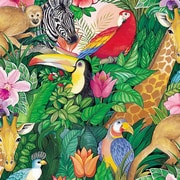 "Shamrock 24""W Jungle Paradise Ultra Gloss Gift Wrap, Green/Assorted"