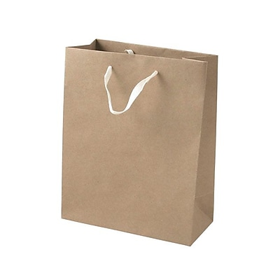Shamrock Paper 10in.H x 8in.W x 4in.D Cub Tote Shopping Bags, Natural Kraft, 25/Carton