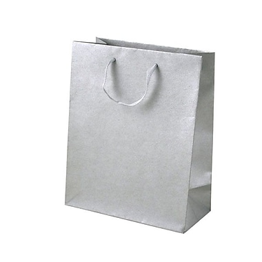 Shamrock 10in. x 8in. x 4in. Cub Recycled Paper Eurotote Bags, Platinum Metallic Silver