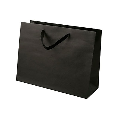 Shamrock 10in. x 13in. x 5in. Medium Vogue Recycled Paper Eurotote Bags, Black