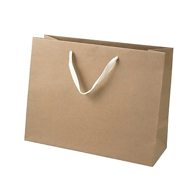 Shamrock 10in. x 13in. x 5in. Medium Vogue Recycled Paper Eurotote Bags, Natural Kraft Beige