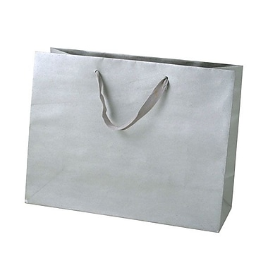Shamrock 10in. x 13in. x 5in. Medium Vogue Recycled Paper Eurotote Bags, Platinum Metallic Silver