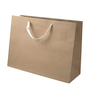 Shamrock 12in. x 16in. x 6in. Large Vogue Recycled Paper Eurotote Bags, Natural Kraft Beige