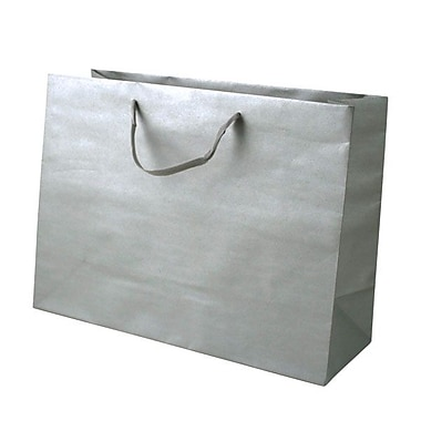 Shamrock 12in. x 16in. x 6in. Large Vogue Recycled Paper Eurotote Bags, Platinum Metallic Silver