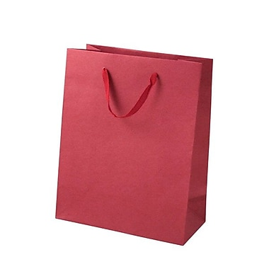 Shamrock Paper 10in.H x 8in.W x 4in.D Cub Tote Shopping Bags, Red, 25/Carton