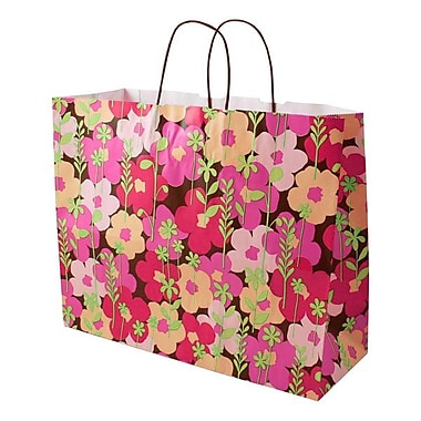 Shamrock 16in. x 6in. x 13in. Printed Paper Jaguar Shopping Bags, Just Peachy