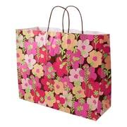 Shamrock 16 x 6 x 13 Printed Paper Jaguar Shopping Bags, Just Peachy
