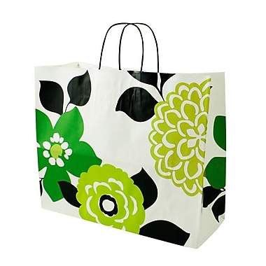 Shamrock 16in. x 6in. x 13in. Printed Paper Jaguar Shopping Bags, Bold Floral/Chevron