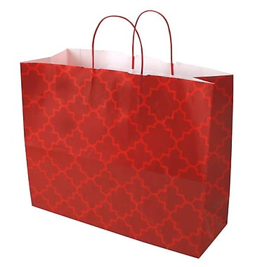 Shamrock 16in. x 6in. x 13in. Printed Paper Jaguar Shopping Bags, Moroccan Tile