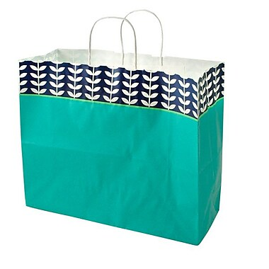 Shamrock 16in. x 6in. x 13in. Printed Paper Jaguar Shopping Bags, Leaf Silhouette