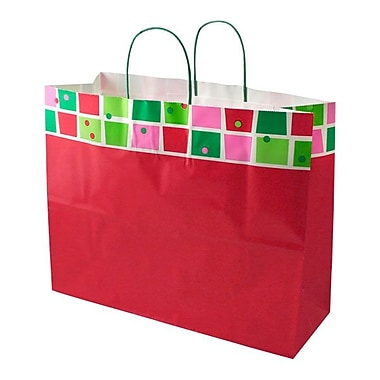 Shamrock 16in. x 6in. x 13in. Printed Paper Jaguar Shopping Bags, Christmas Check/Snowflake Bling