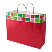 Shamrock 16 x 6 x 13 Printed Paper Jaguar Shopping Bags, Christmas Check/Snowflake Bling
