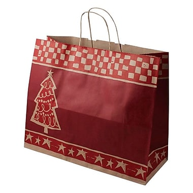 Shamrock Paper 13in.H x 16in.W x 6in.D Jaguar Shopper Bags, Homespun Christmas/Kraft, 100/Carton