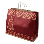Shamrock 16 x 6 x 13 Printed Paper Jaguar Shopping Bags, Homespun Christmas/Kraft