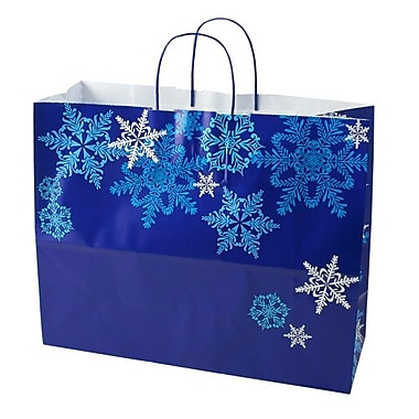 Shamrock 16in. x 6in. x 13in. Printed Paper Jaguar Shopping Bags, Snowflake Swirl/Waterfall