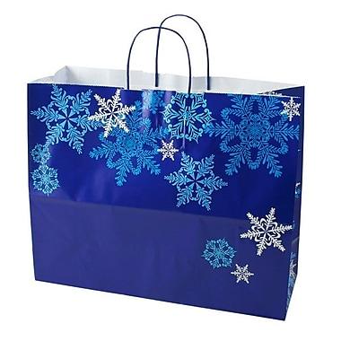 Shamrock 16in. x 6in. x 13in. Printed Paper Jaguar Shopping Bags, Snowflake Swirl/Waterfall