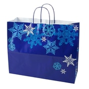 "Shamrock Paper 13""H x 16""W x 6""D Jaguar Shopping Bags, Snowflake Swirl, 100/Carton"