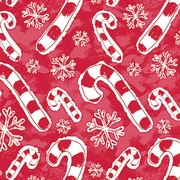 """Shamrock 24""""W Flakes and Candy Canes Gift Wrap, Red/White"""