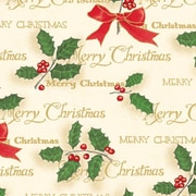 "Shamrock 24""W Scripted Holly Gift Wrap, Gold/Red/Green/Beige"