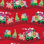 "Shamrock 24""W Santa Express Gift Wrap, Red/Green/Black/Assorted"