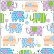 "Shamrock 24""W Baby Elephants Gift Wrap, White/Purple/Green/Blue/Orange"
