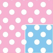 """Shamrock 24""""W Baby Dots Reversible Gift Wrap, White on Pink and Blue"""