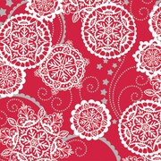 "Shamrock 24""W Lacy Snowflakes Gift Wrap, Silver/Red/White"