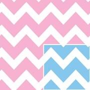 "Shamrock 24""W Baby Chevron Reversible Gift Wrap, Blue/White/Pink"