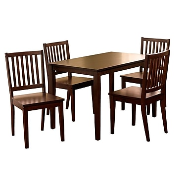 TMS Shaker 29in. x 45in. x 28in. Rubberwood 5 Piece Dining Set, Espresso