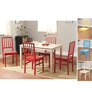 TMS Camden 29in. x 45in. x 28in. Rubberwood 5 Piece Dining Set, White/Yellow