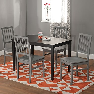 TMS Camden 29in. x 45in. x 28in. Rubberwood 5 Piece Dining Set, White/Gray