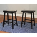 TMS Belfast Saddle 24in. Wood Stool, Black