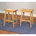 TMS Belfast Saddle 24in. Wood Stool, Oak
