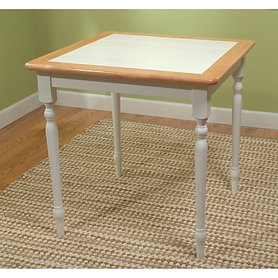 """""TMS Tile Top 29 1/2"""""""" x 29 1/2"""""""" x 29 1/2"""""""" Rubberwood Table, White/Natural"""""" 86148"
