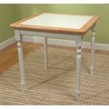 TMS Tile Top 29 1/2in. x 29 1/2in. x 29 1/2in. Rubberwood Table, White/Natural