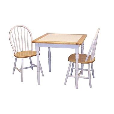 TMS Tile Top 29 1/2in. x 29 1/2in. x 29 1/2in. Wood 3 Piece Dining Set, Natural/White
