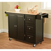 TMS Sundance Wood Kitchen Cart, Black