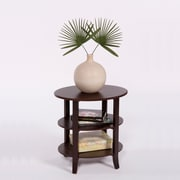 TMS London 24 x 24 x 18 Solid Wood/MDF 3-Tier Oval End Table, Espresso