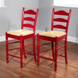 TMS 24in. Ladder Back Wood Stool, Red