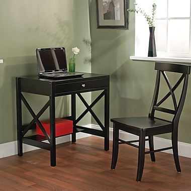 TMS Wood 2 Piece X-Desk Set, Black