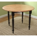 TMS Double Drop Leaf 29in. x 40in. x 40in. Rubberwood Table, Black/Natural