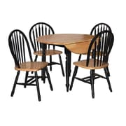 TMS Double Drop Leaf 29 x 40 x 40 Rubberwood 5 Piece Dining Set, Black