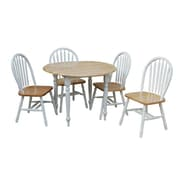 "TMS Double Drop Leaf 29"" x 40"" x 40"" Rubberwood 5 Piece Dining Set, White/Natural"