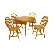 "TMS Double Drop Leaf 29""H x 40""L x 40""W Rubberwood 5-Piece Dining Set, Oak"