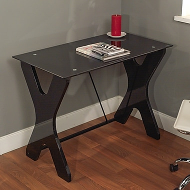 TMS Gavin Tempered Glass X-legged Computer Desks