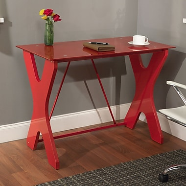 TMS Gavin Tempered Glass X-legged Computer Desk, Red