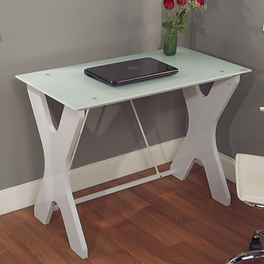 TMS Gavin Tempered Glass X-legged Computer Desk, White